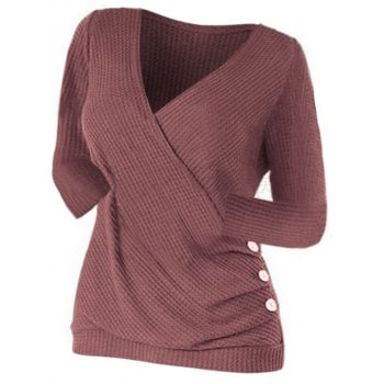 Ruched Buttoned Surplice Knitwear