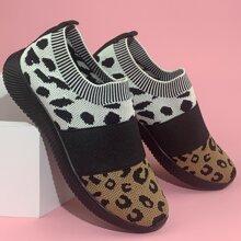 Leopard Colorblock Knit Slip On Sneakers