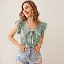 Ruffle Armhole Knotted Button Front Striped Blouse