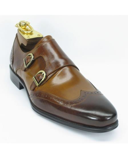 Mens Brown/Cognac Fashion Double Buckle Style Two Toned Wingtoe Shoes