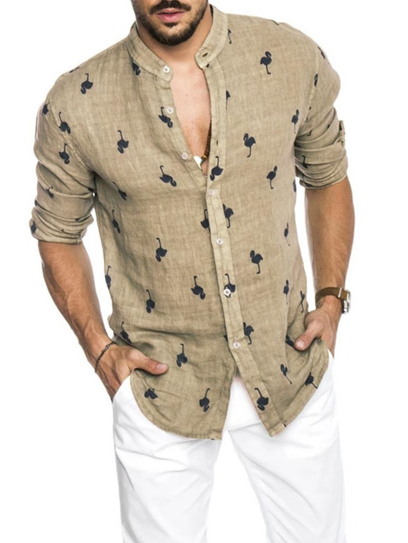 Ericdress Stand Collar Print Animal Loose Single-Breasted Men's Shirt