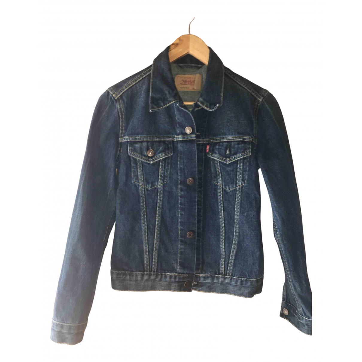 Levi's N Blue Cotton Leather jacket for Women 36 FR