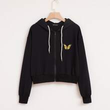 Butterfly Embroidered Zip Up Drawstring Hoodie