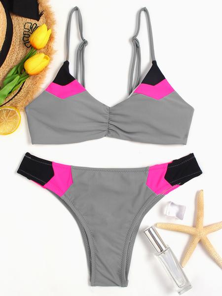 Yoins Grey Padded Design Spaghetti Bikini Sets