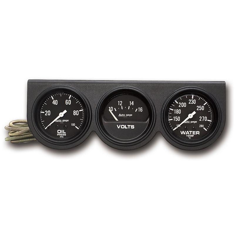 AutoMeter GAUGE CONSOLE; OILP/WTMP/VOLT; 2 5/8in.; 100PSI/280deg.F/16V; BLK DIAL; BLK BZL;