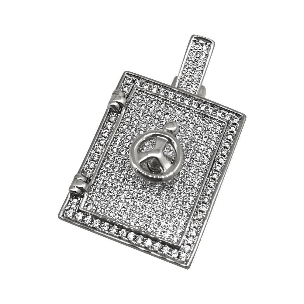 .925 Silver 3D Bank Safe Vault Rhodium CZ Bling Bling Pendant