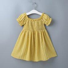 Toddler Girls Tribal Print Shirred Bodice Dress