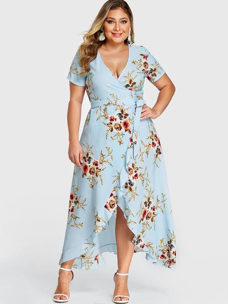 Yoins Plus Size Blue Ruffle Trim Random Floral Print Wrap Design Dress