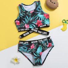 Bikini Badeanzug mit tropischem Muster