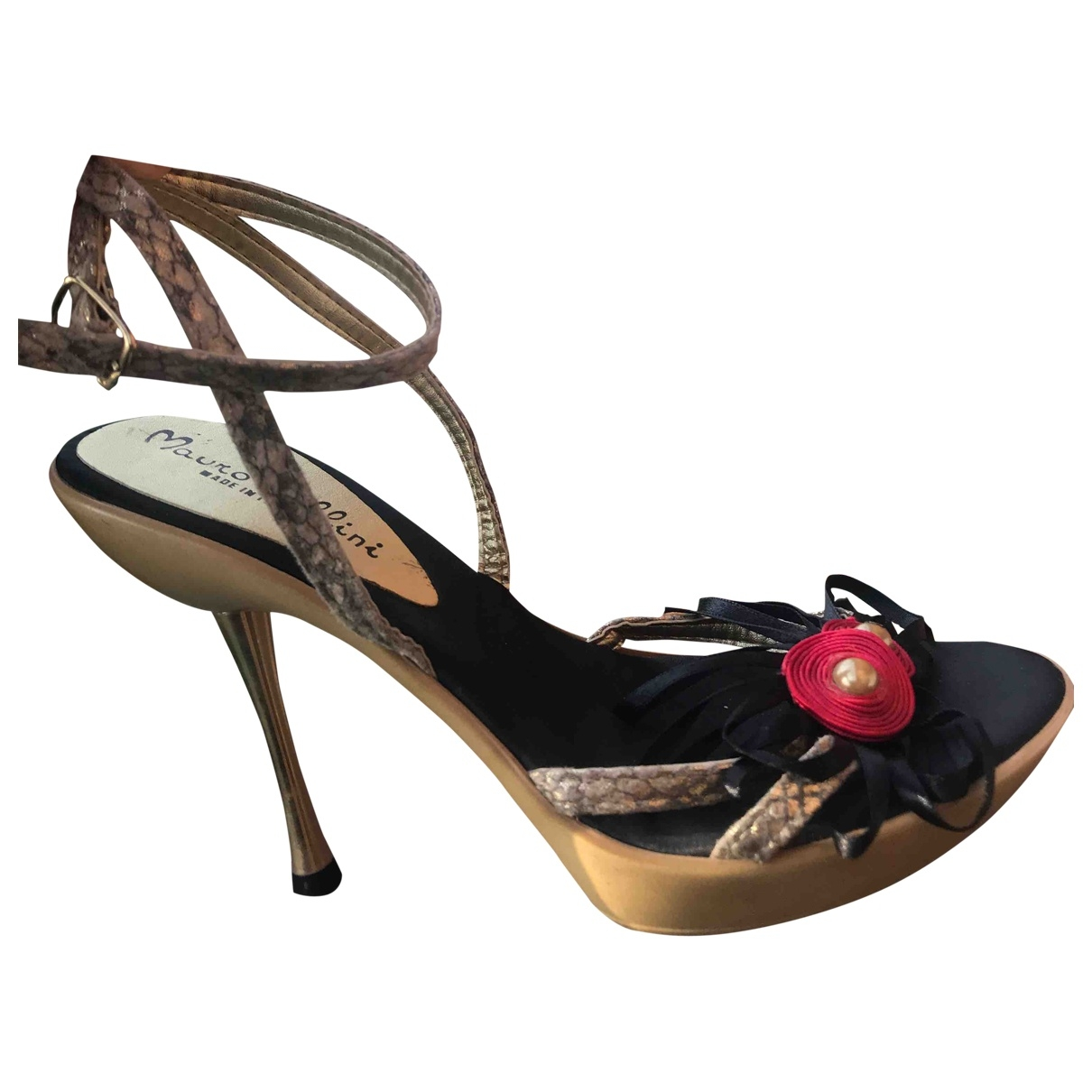 Pollini \N Gold Leather Sandals for Women 38 IT
