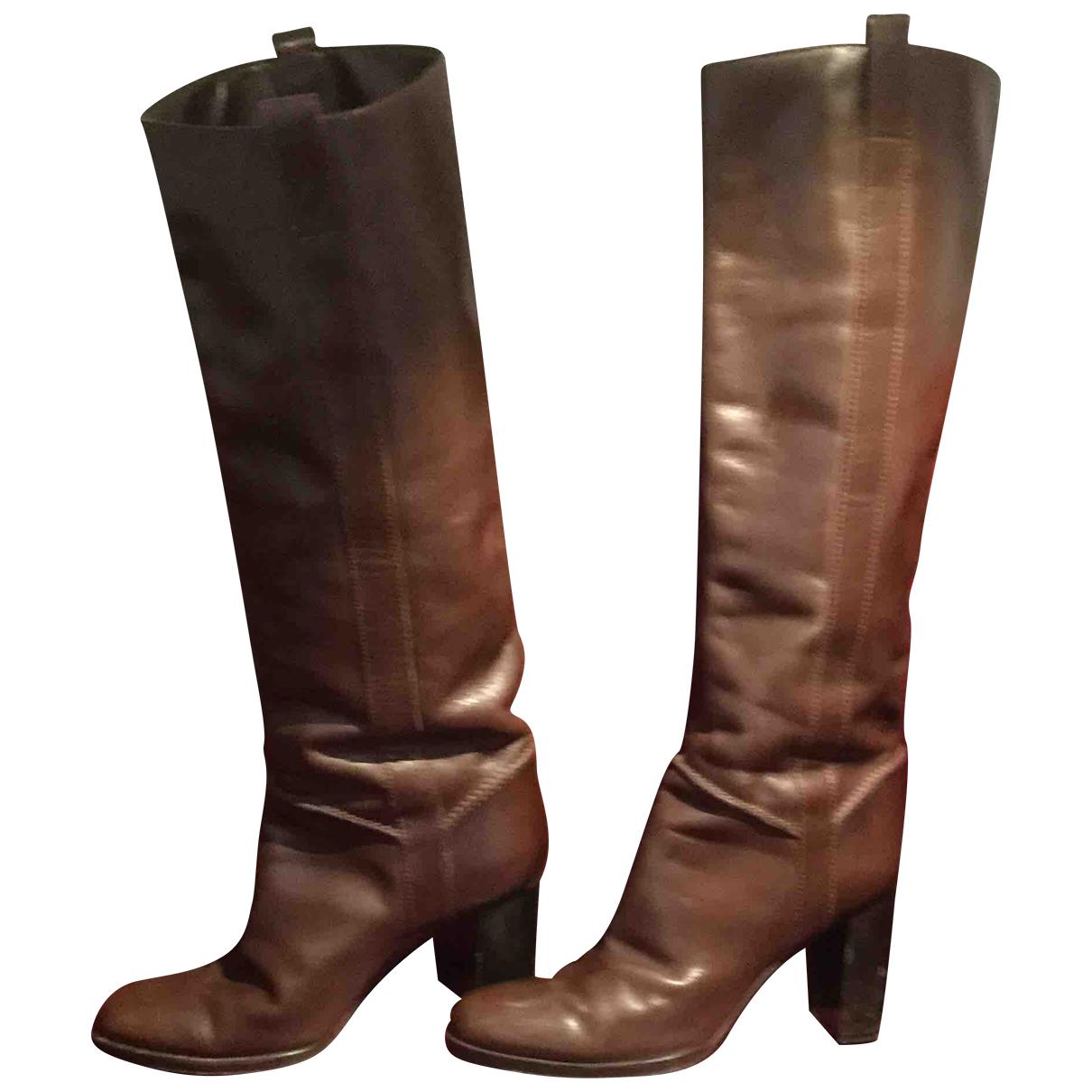 Sergio Rossi - Bottes   pour femme en cuir - marron