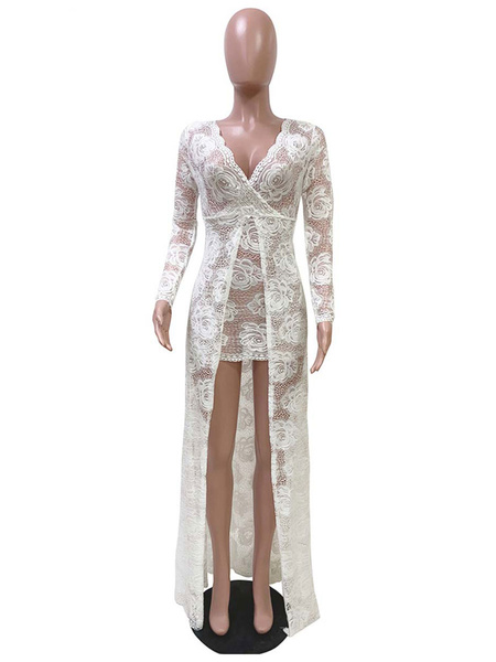 Milanoo Women\'s Maxi Dresses Long Sleeves White V-Neck Polyester Floor Length Dress