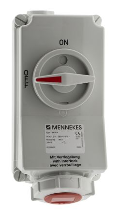 MENNEKES Switchable IP67 Industrial Interlock Socket 3P+E, Earthing Position 6h, 16A, 400 V, Red