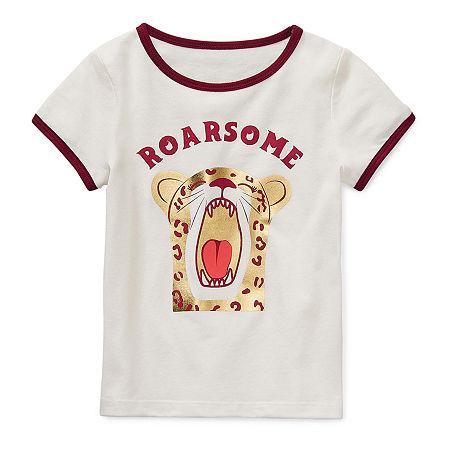 Okie Dokie Little Girls Round Neck Short Sleeve Graphic T-Shirt, 4 , White