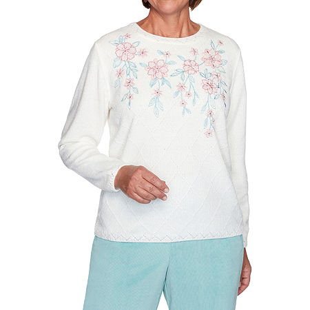 Alfred Dunner St Moritz Womens Crew Neck Long Sleeve Floral Pullover Sweater, Petite X-large , White