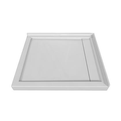 SBLDDT-4842R-LT-WHT Double Threshold White Acrylic Linear Drain Shower Base Left Hand