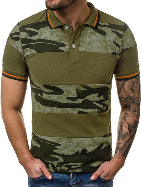 Yoins Men Summer Casual Cotton Camo Color Block Patchwork Polos