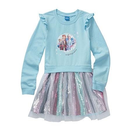 Disney Little & Big Girls Long Sleeve Frozen A-Line Dress, 8-10 , Blue