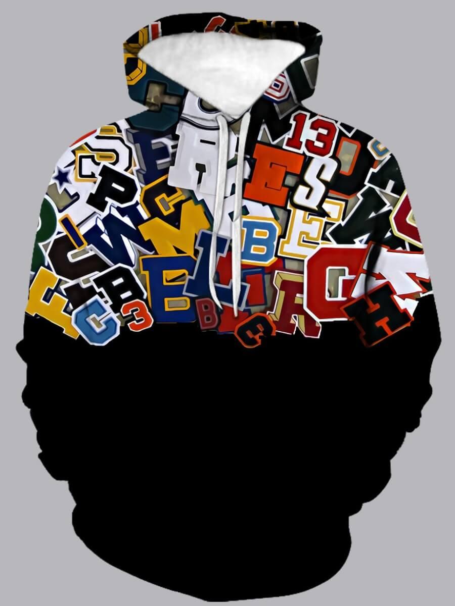 LW Lovely Street Hooded Collar Letter Print Patchwork Black Men Hoodie