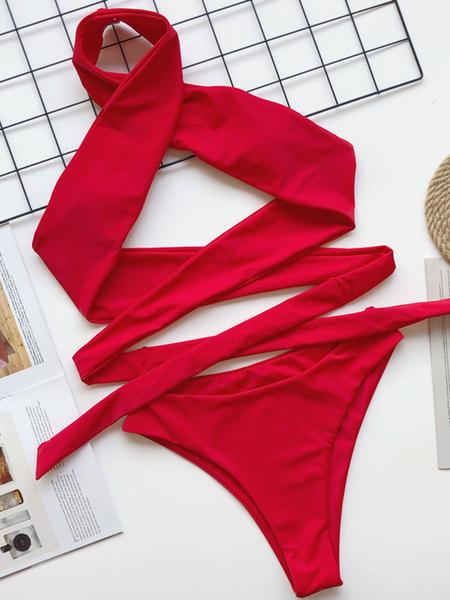 Milanoo Traje de baño Bikini de mujer Traje de baño de playa de verano negro Halter