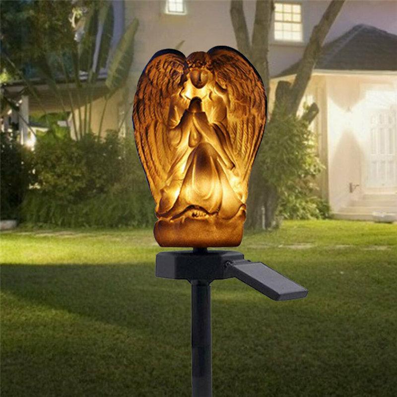 Solar LED Ground Buried Light Angel Ornament Garden Lawn Resin Lamp Waterproof
