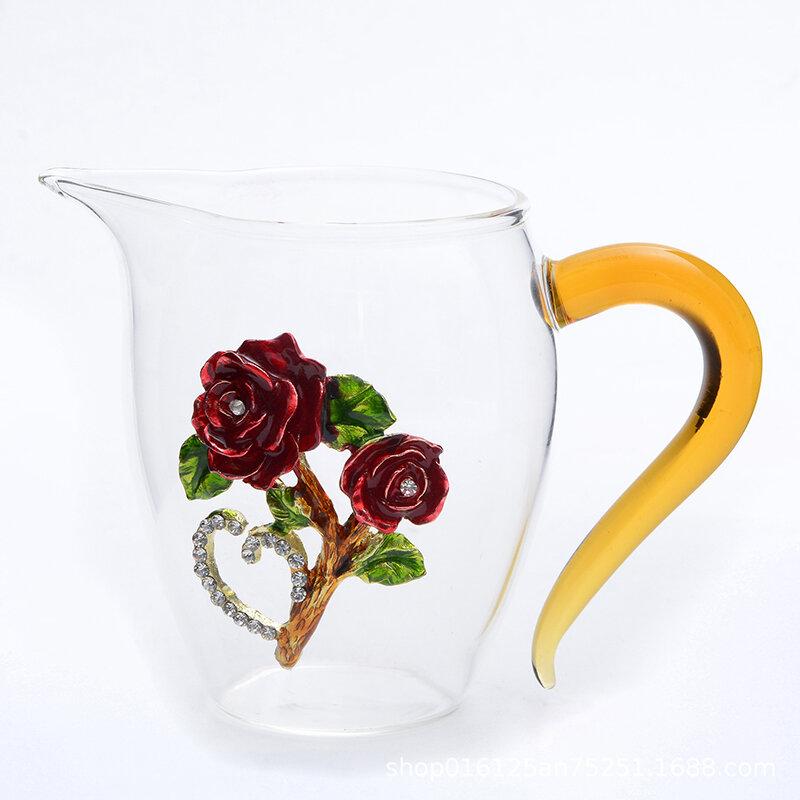 Transparent Enamel Cup Household Crystal Glass Flower Rose Tea Cup