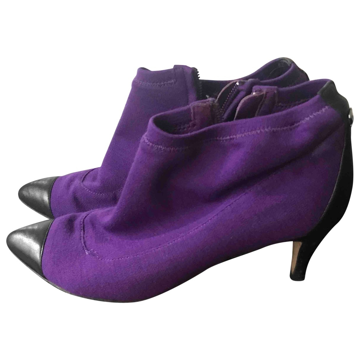 Chanel \N Purple Cloth Ankle boots for Women 37 EU