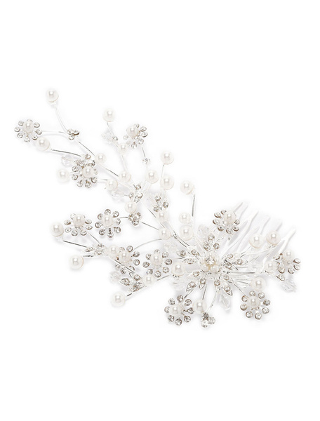 Milanoo Bridal Hair Comb Rhinestone Pearl Floral Silver Wedding Hair Accessory