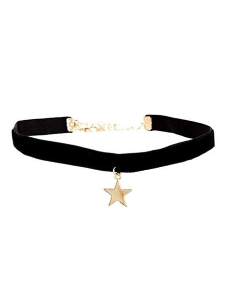 Milanoo Star Pendent Choker Women's Black Velour Necklace