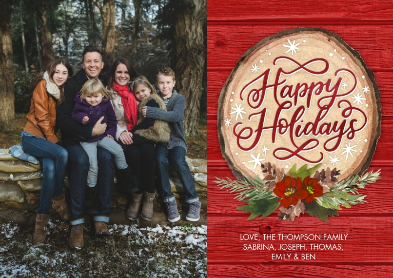Holiday Photo Cards 5x7 Cards, Premium Cardstock 120lb, Card & Stationery -Holiday Floral Wood Plaque by Tumbalina