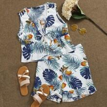 Tie Front Tropical Crop Top & Ruffle Hem Shorts Set