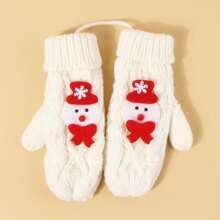 Maedchen Handschuhe mit Weihnachten Schneemann Muster