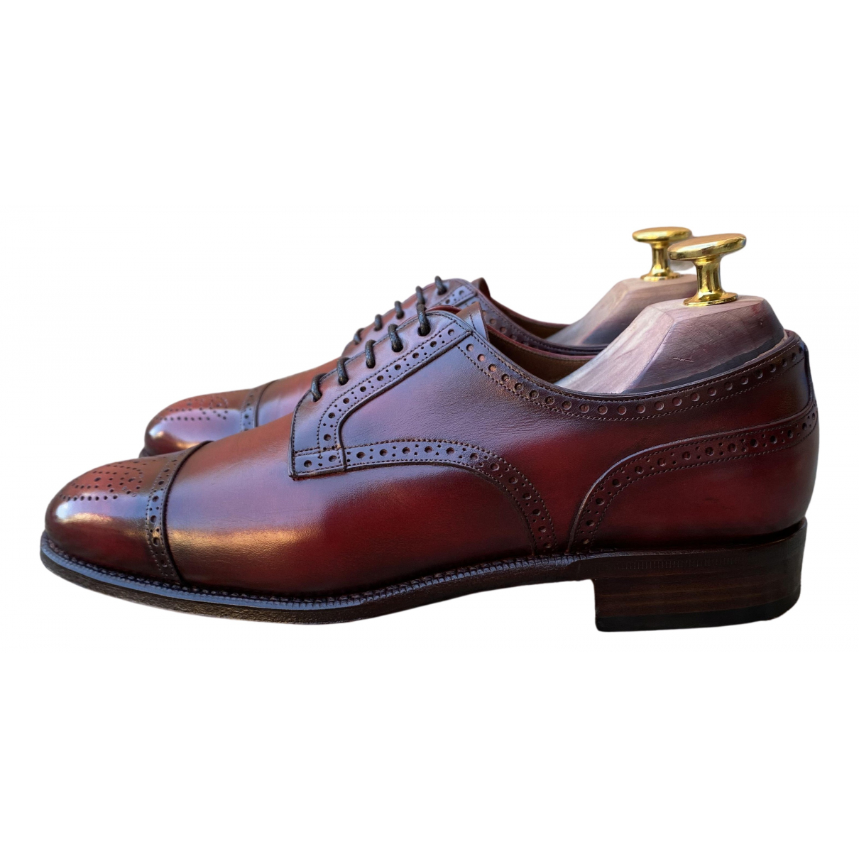 Non Signé / Unsigned N Burgundy Leather Lace ups for Women 4.5 UK