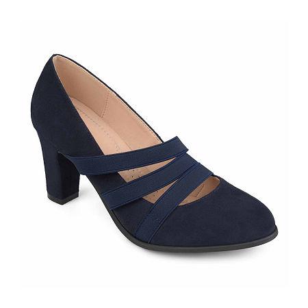 Journee Collection Womens Loren Pumps Stacked Heel, 8 1/2 Medium, Blue