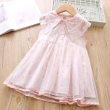 Toddler Girls Striped & Flamingo Print Lace Panel Tutu Dress