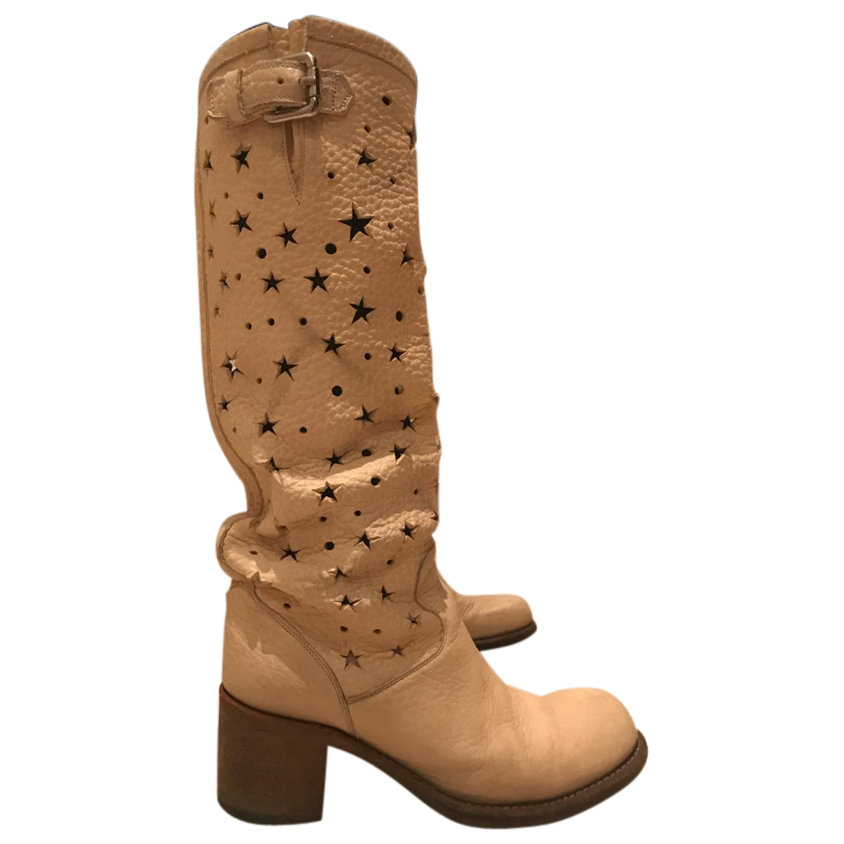 Free Lance Geronimo Beige Leather Boots for Women 38 EU