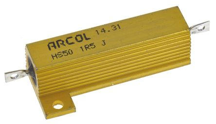 Arcol HS50 Series Aluminium Housed Axial Wire Wound Panel Mount Resistor, 1.5Ω ±5% 50W