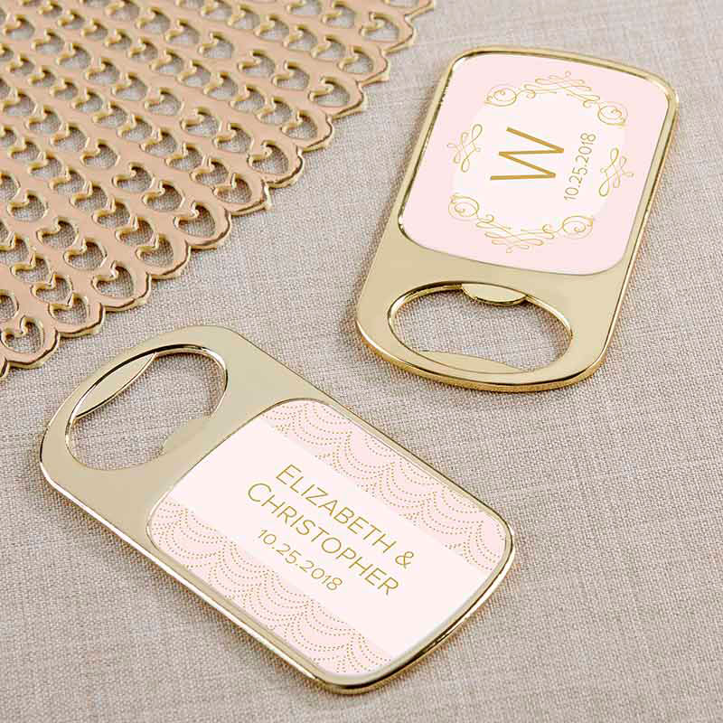 Personalized Modern Romance Gold Bottle Opener