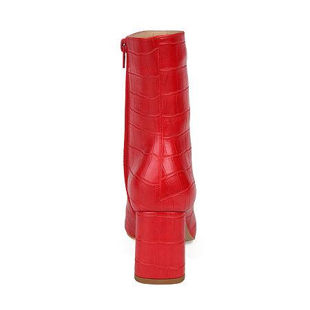 Journee Collection Womens Trevi Booties Block Heel, 10 Medium, Red