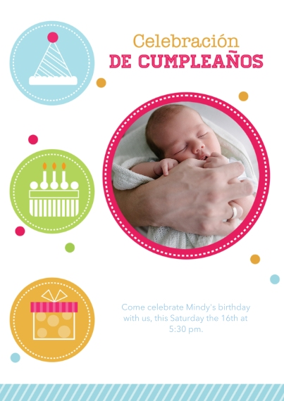 Kids Birthday Party 5x7 Cards, Premium Cardstock 120lb with Scalloped Corners, Card & Stationery -Spanish - Iconic Birthday