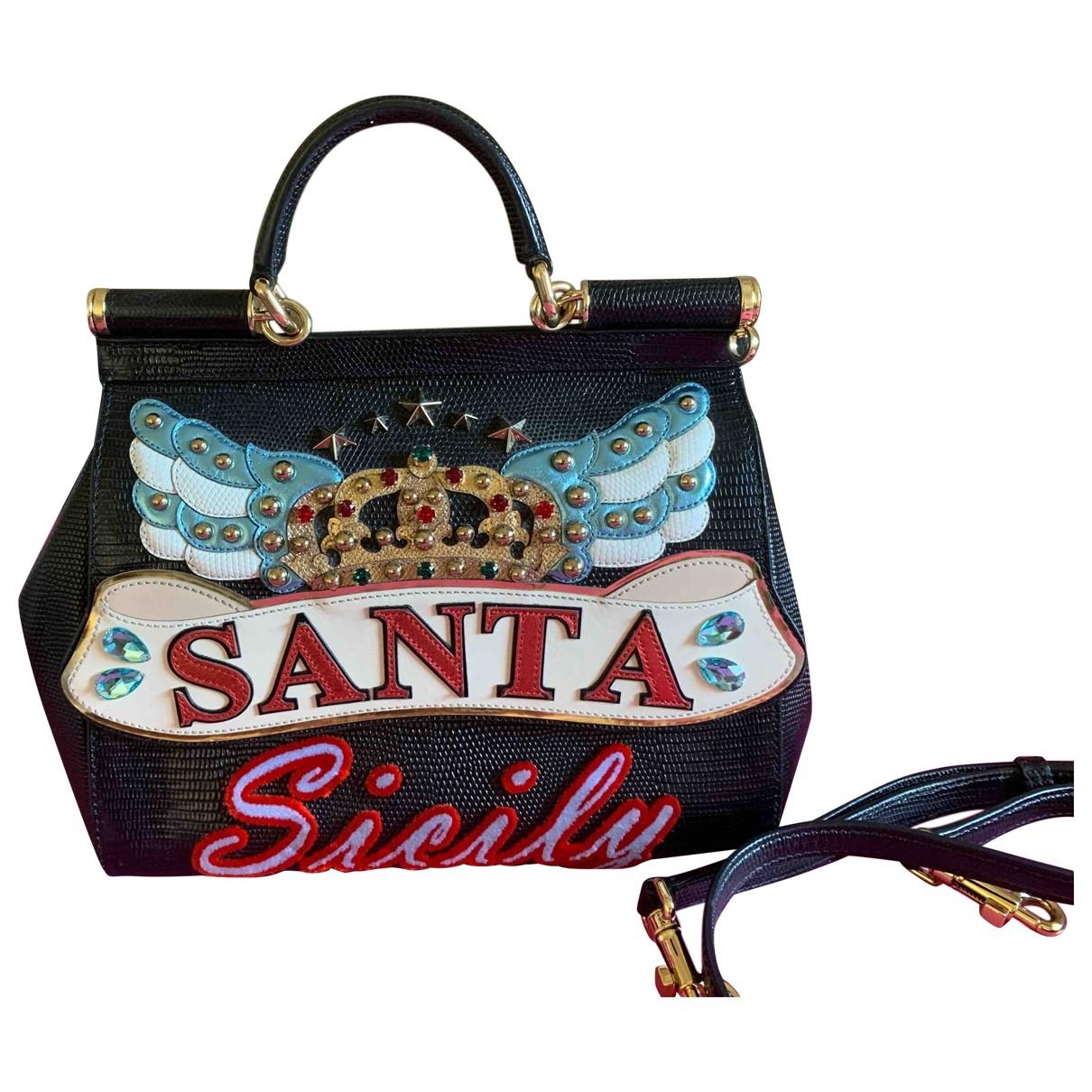 Dolce & Gabbana Sicily Handtasche in  Schwarz Leder