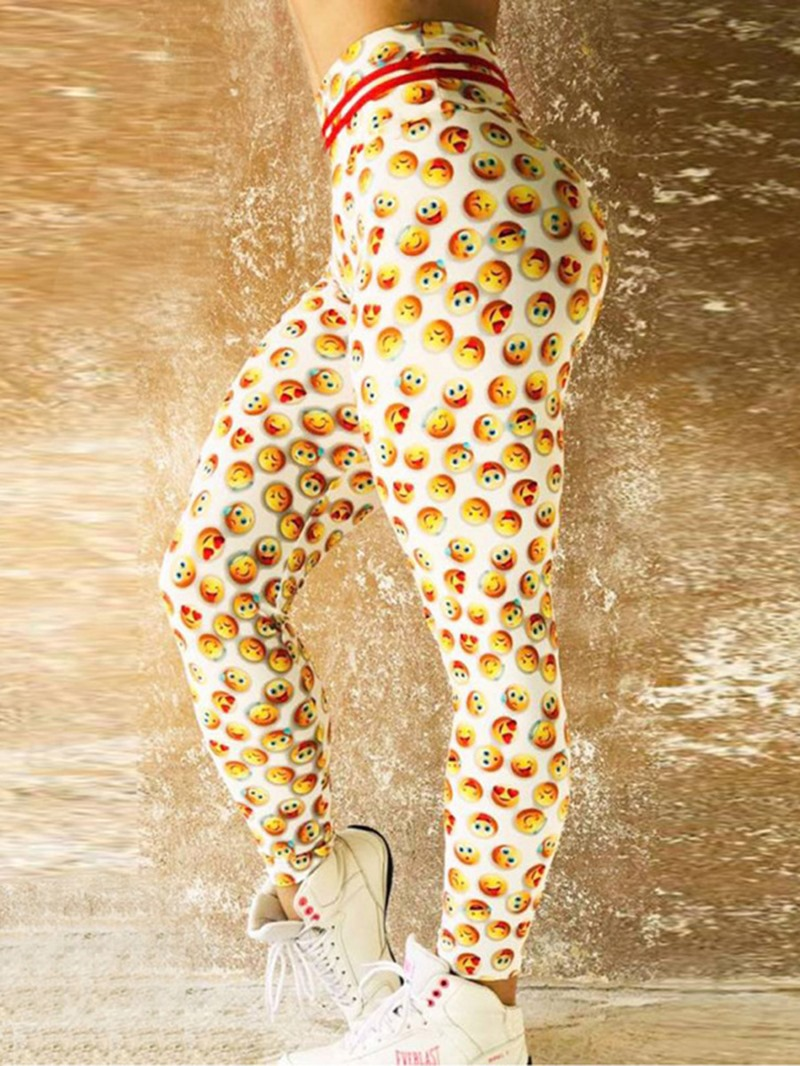 Ericdress Emoticon Print Quick Dry Womens Leggings