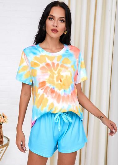 Womens Loungewear and Pajamas Short Sleeve Tie Dye Print Drawstring Waist Loungewear Set - L
