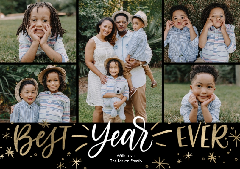 New Year's Photo Cards 5x7 Cards, Premium Cardstock 120lb with Elegant Corners, Card & Stationery -New Year Best Year Ever Collage by Tumbalina