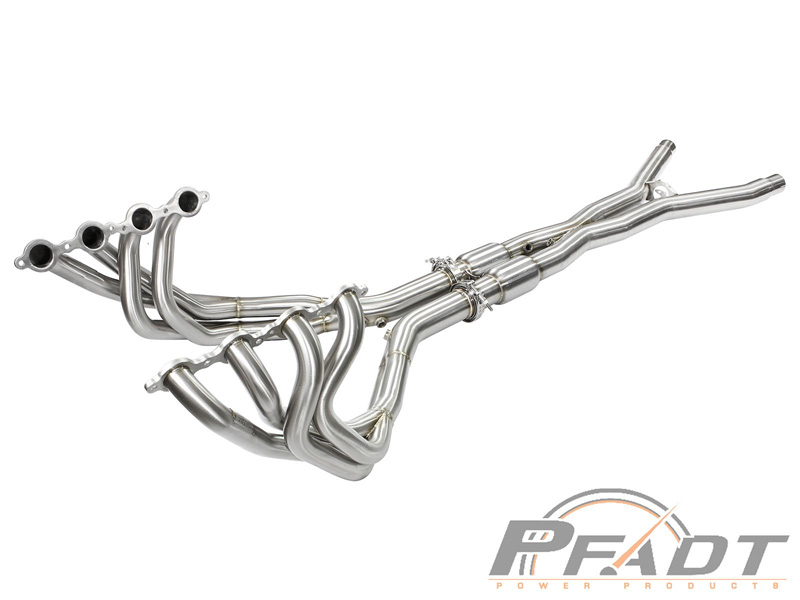 aFe POWER 48-34105-YC PFADT Series Tri-Y Long Tube Header & X-Pipe; Street Series Chevrolet Corvette (C6) 05-08 V8-6.0L/6.2L (LS2/LS3)