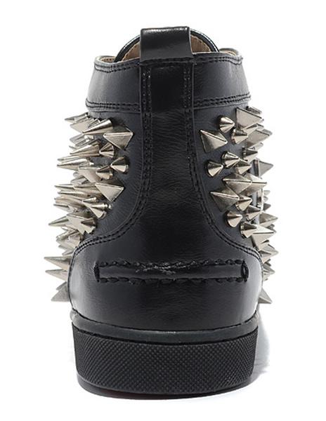 Milanoo Zapatillas de deporte 2020  para hombre Zapatos negros con clavos de estilo moderno