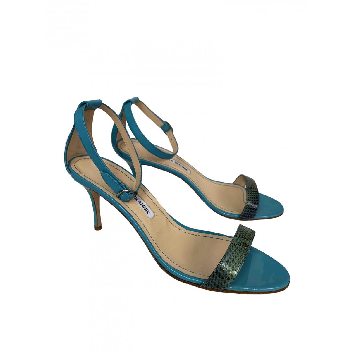 Manolo Blahnik - Sandales   pour femme en cuir - turquoise