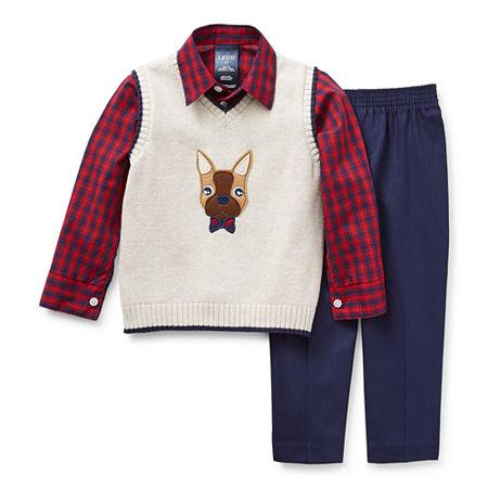 IZOD Toddler Boys 3-pc.Sweater Vest Set, 3t , Beige
