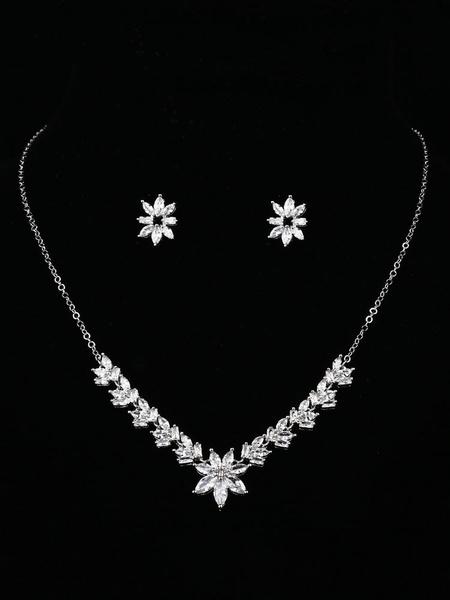 Milanoo Earrings Necklace Set Silver Wedding Jewelry Cubic Zirconia Bridal Accessories