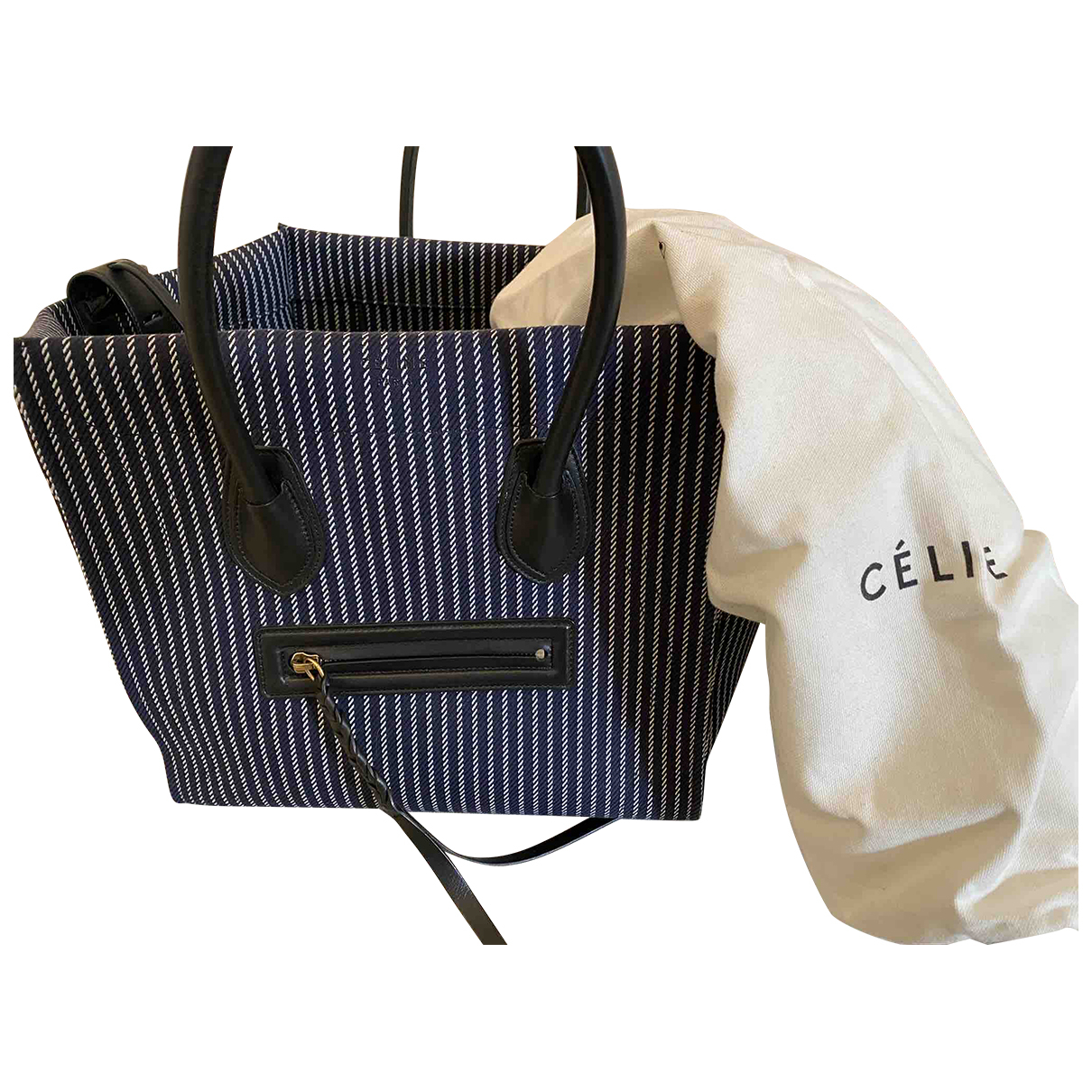 Celine Luggage Phantom Handtasche in  Blau Baumwolle